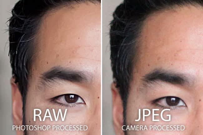 مقایسه raw و JPEG